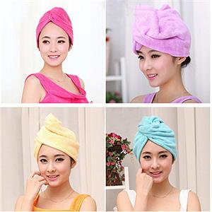 2-Pack Microfiber Super Absorbent Hair Towel Cuts Down On Drying Time - Purple