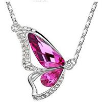 Butterfly Crystal Necklace - Hot Pink