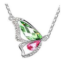 Butterfly Crystal Necklace - Green & Pink