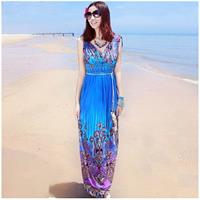 Bohemian V-Neck Free Flowing Dress - Blue
