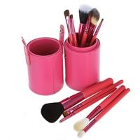 12 Pcs Professional Makeup Brush Set In Convenient Leather Tool Case - Pink