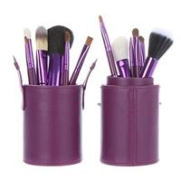 12 Pcs Professional Makeup Brush Set Convenient Leather Tool Case Purple