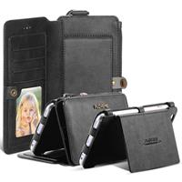 All In One Multi-Functional Black Leather Wallet Style Case For iPhone