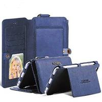 Multi-Functional Deep Blue Leather Wallet Style Case For iPhone