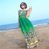 Bohemian V-Neck Free Flowing Dress - Green