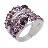 18k White Gold Austrian Crystal GP Ring - Pretty Purple