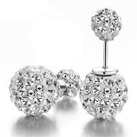 Stunning Double Sided Shamballa Crystal Stud Earrings Made With 925 Sterling Silver