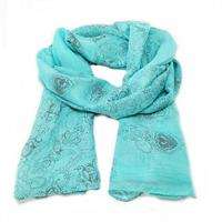 Light Weight Trendy Floral Scarf - Teal