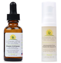 COMPLETE Skin Solutions Niacinamide Pure Vitamin B3 Serum 5% & Vitamin C + E Serum With Ferulic & Hyaluronic Acid PROFESSIONAL SIZE