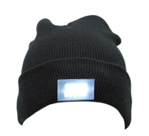 5 LED Lighted Beanie Cap Great For Hunting Camping Fishing Running -Black