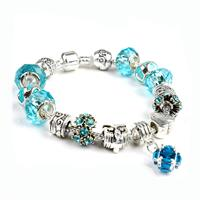 Gorgeous European Aquamarine Crystal Charm Bracelet