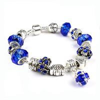 Gorgeous European Deep Blue Crystal Charm Bracelet