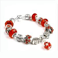 Gorgeous European Fire Red Crystal Charm Bracelet