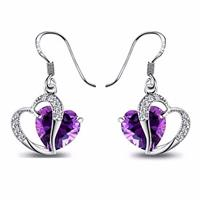 Amethyst Crystal Zircon Heart Drop Earrings