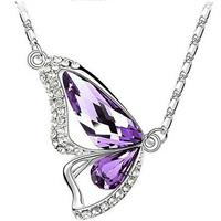 Butterfly Crystal Necklace - Lavendar