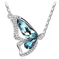 Butterfly Crystal Necklace - Blue