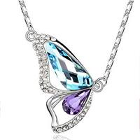 Butterfly Crystal Necklace - Blue & Purple