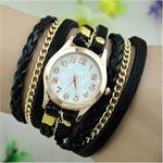 Elegant Eye Catching Leather And Chain Watch Comes In Various Colors