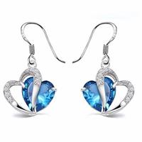 Blue Crystal Zircon Heart Drop Earrings