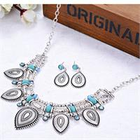 Modern Tribal Waterdrop Silver Pendants Necklace And Earrings With Marine B