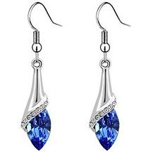 Shimmering Deep Blue Crystal Drop Earrings