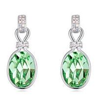 Classy Swarovski Crystal Soft Green Expression Earrings