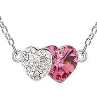 Two Hearts Precious Pink Crystal Necklace