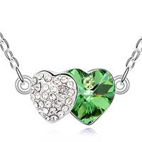 Two Hearts Emerald Green Crystal Necklace