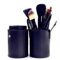 12 Pcs Professional Makeup Brush Set Convenient Leather Tool Case Black