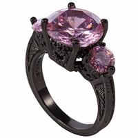 Pretty In Pink Sapphire Black Gold Filled 10kt Ring