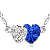 Two Hearts Deep Blue Crystal Necklace