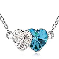 Two Hearts Ocean Blue Crystal Necklace