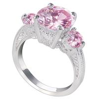 Timeless 10kt White Gold Pink Sparkling Sensation Crystal Ring