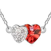 Two Hearts Scarlet Red Crystal Necklace
