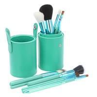 12 Pcs Professional Makeup Brush Set In Convenient Leather Tool Case - Teal