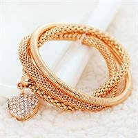 Crystal Heart Bracelet - Gold