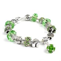 Gorgeous European Emerald Green Crystal Charm Bracelet
