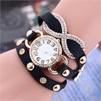 Leather Infinity Watch With Crystals Comes in 7 Different Colors