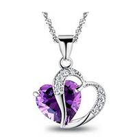 Hearts of Fire Amethyst Crystal Zircon Necklace