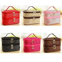 Polka Dotted Two-layer Cosmetic Makeup Bag