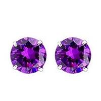 Round 6mm Cubic Zirconia Purple Stud Earrings