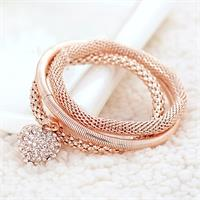 Crystal Heart Bracelet - Rose Gold