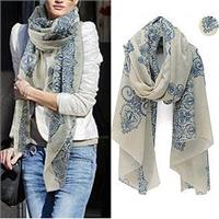Light Weight Trendy Floral Scarf - White