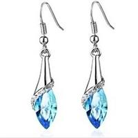 Shimmering Blue Crystal Drop Earrings