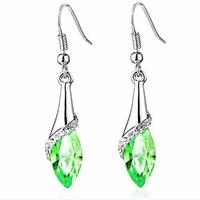 Shimmering Green Crystal Drop Earrings