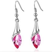 Shimmering Pink Crystal Drop Earrings