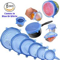 6pcs Reusable Silicone Stretch Lids Great For Kitchen Storage