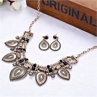 Modern Tribal Waterdrop Pendants Necklace And Earrings With Black Crystals